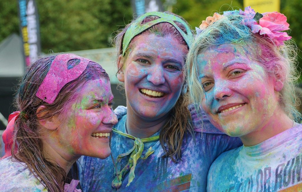 girls, colorful, people